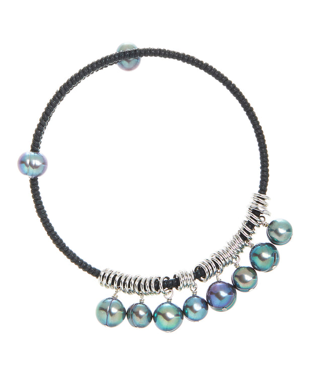 Honora Blue Green Colored Fresh Water Pearl Bangle Stainless Steel Bracelet