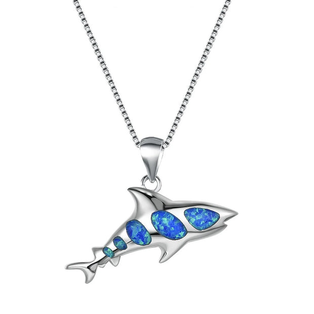 Blue Opal And Sterling Silver Shark Necklace
