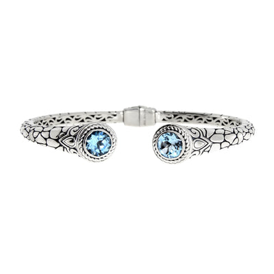 Blue Topaz Bali Rose And Stone Textured 925 Sterling Silver Vintage Cuff Bracelet