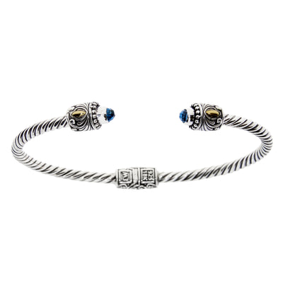 Blue Topaz Twisted Spiral Cable 18K Gold & Sterling Silver Vintage Bali Rose Cuff Bracelet