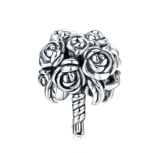 Bunch Of Roses Hand Tied Flower Bouquet Sterling Silver Charm Bead Accessory For Bracelet