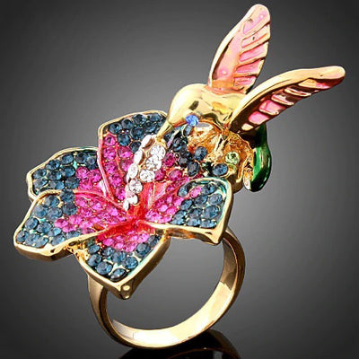 Elegant Hummingbird & Flower Crystal Rings