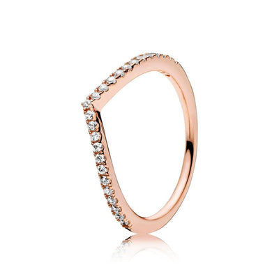 Chevron Curved Stackable Wishbone Rose Gold Plated 925 Sterling Silver Cubic Zirconia Ring