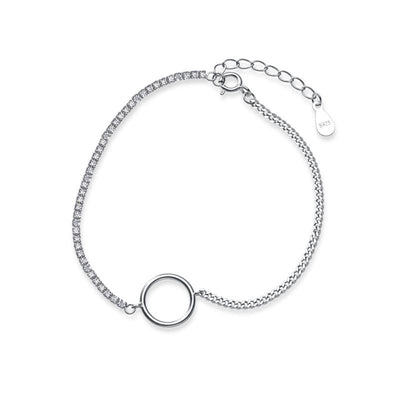 Classic Circle Chain Bracelet In 925 Sterling Silver