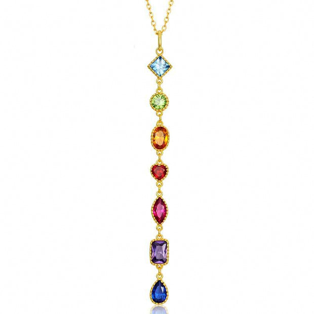 Colorful Geometric Shaped Cubic Zirconia Gemstone 9K Gold Plated 925 Sterling Silver Pendant
