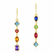 Colorful Geometric Shaped Cubic Zirconia Sterling Silver 9K Gold Plated Long Dangle Earrings