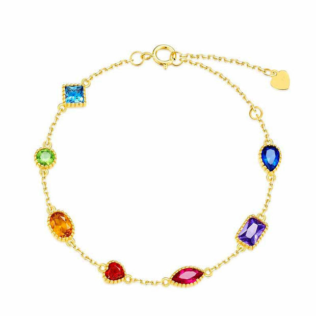 Colorful Geometric Shaped Cubis Zirconia 925 Sterling Silver 9K Gold Plated Bracelet