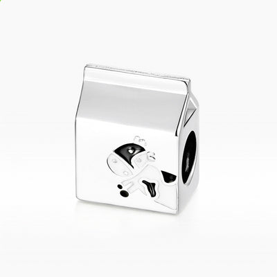 Cow Milk Box Sterling Silver Charm Milk Carton Bead For Bracelets