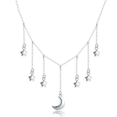 "Crescent Moon And Multi Star ""Starry Night"" Sterling Silver Collar Dangle Necklace"