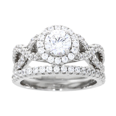 Criss Cross Infinity Sterling Silver SS Bridal Cubic Zirconium Wedding & Engagement Ring Set