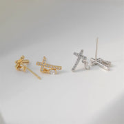 Cross Stud 18K Gold Plated Sterling Silver And Zirconia Gemstone Small Faith Earrings