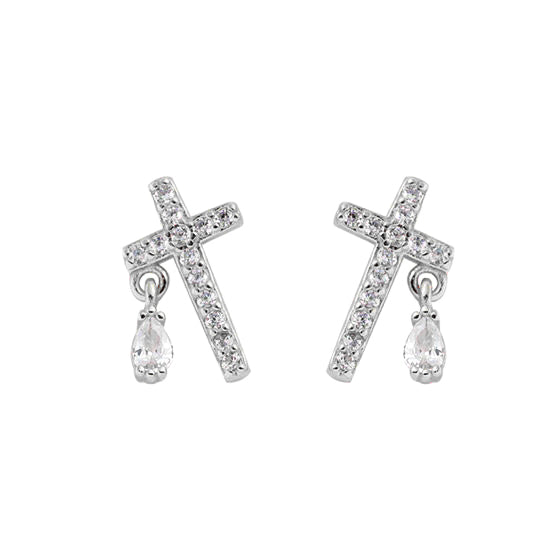 Cross Stud Rhodium Plated Sterling Silver And Zirconia Gemstone Small Faith Earrings