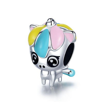 Cute Baby Unicorn Sterling Silver Colorful Charm Bead Accessory For Bracelet