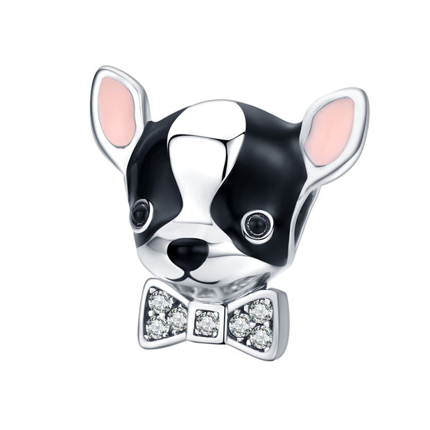 Cute Boston Terrier Puppy Dog With Bow Tie Sterling Silver Charm For Bracelets