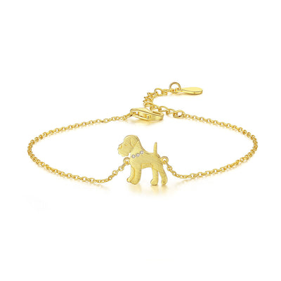 Cute Bulldog With Gemstone Collar 18K Gold Plated Sterling Silver Bracelet