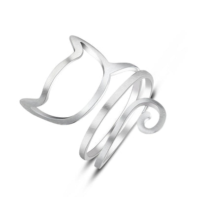 cute cat spiral outline 925 sterling silver ring