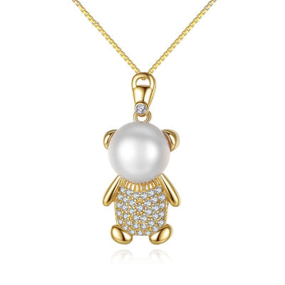 Cute Luxury Teddy Bear Necklace In Gold Plated Sterling Silver And Natural Pearl