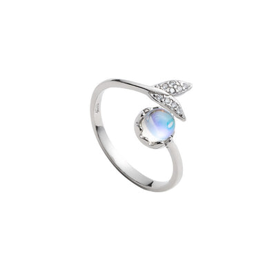 Mermaid Tail & Mermaid Tears Moonstone Sterling Silver Ring