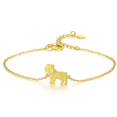 Cute Pug Dog With Gemstone Collar 18K Gold Plated Sterling Silver Bracelet