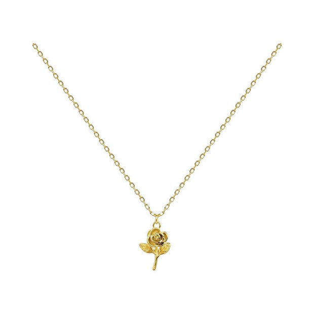 Dainty Rose Flower 18K Gold Plated 925 Sterling Silver Necklace