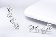 Dog Paw Prints 925 Sterling Silver Puppy Footprints Pet Dog Lovers Earrings