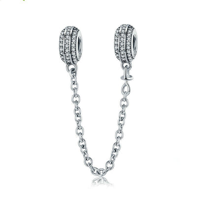 Double Bead And Chain 925 Sterling Silver Cubic Zirconia Charm For Bracelet
