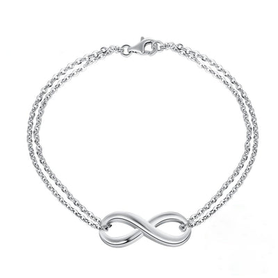 Double Chain Infinity 925 Sterling Silver Minimal Simple Bracelet