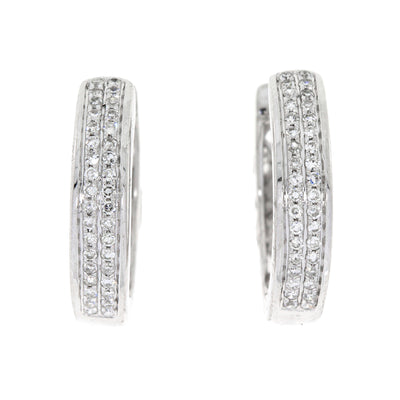 Double Row Genuine 0.14 Carat Diamond 14K White Gold Huggie Hoop Earrings