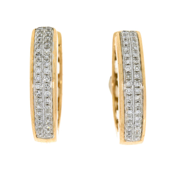 Double Row Natural 0.14 Carat Diamond 14K Rose Gold Huggie Hoop Earrings