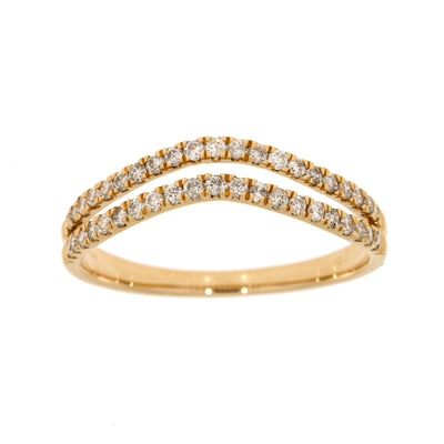 Double Rowed Natural 1/3 (0.34) Carat Diamond 14K Rose Gold Wedding Band Ring