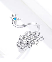 Elegant Peacock Platinum Plated 925 Sterling Silver Ring
