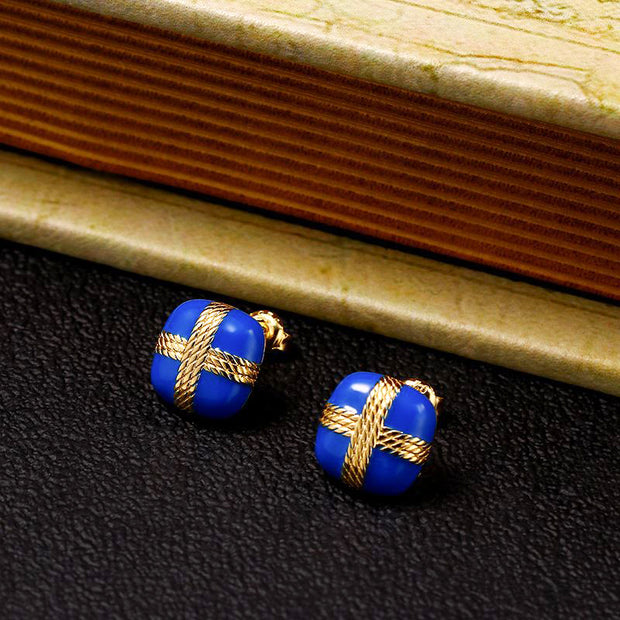 Elegant Royal Winter Blue And Gold Enamel 14K Gold Sterling Silver Stud Earrings