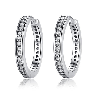 Eternity Huggie Hoop Earrings With 925 Sterling Silver & Cubic Zirconia