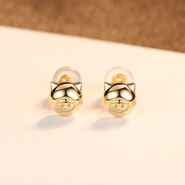 Fine 14K Gold Super Cute Golden Pig Luxury Women's Piggy Stud Earrings