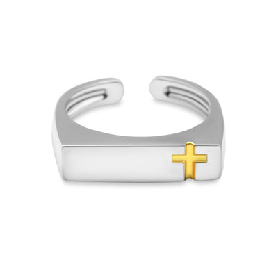 Flat Bar Signet Christian Golden Cross Sterling Silver Minimal Ring