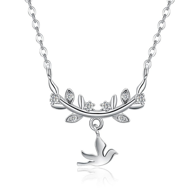 Flying Dove And Leafy Olive Branch 925 Sterling Silver Dainty Necklace