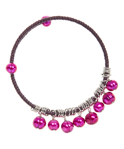 Honora Fuchsia Colored Fresh Water Pearl Bangle Stainless Steel Bracelet