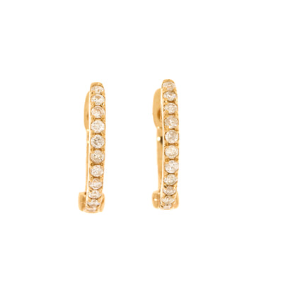 Genuine 0.15 Carat Diamond 14K Rose Gold Huggie Hoop Earrings