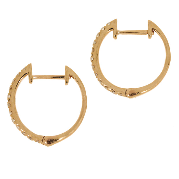 Genuine 0.18 Carat Diamond 14K Rose Gold Huggie Hoop Earrings