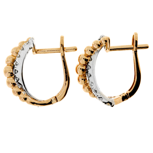 Genuine 0.50 1/2 Carat Diamond 14K Two Tone Gold Hoop Earrings
