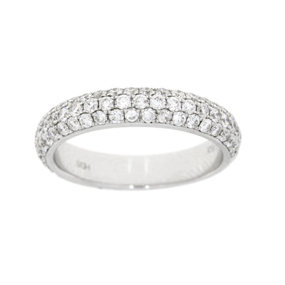 Genuine 1.13 Carat Diamond 14K White Gold Semi Eternity Wedding Engagement Band Luxury Womens Ring