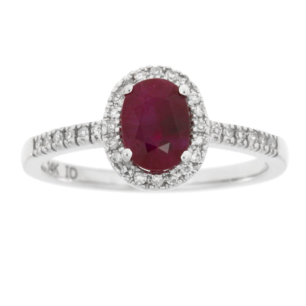 Genuine 1.14 Carat Large Ruby And White Diamond Luxury 14K White Gold Ring