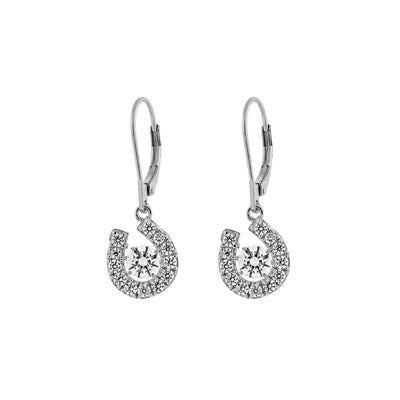 Genuine 925 Sterling Silver Horse Shoe Swarovski Cubic Zirconia Leverback Dangle Drop Earrings