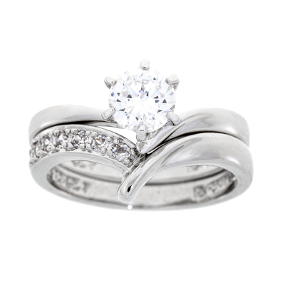 Genuine Sterling Silver SS Bridal Cubic Zirconium Wedding & Engagement Ring Set