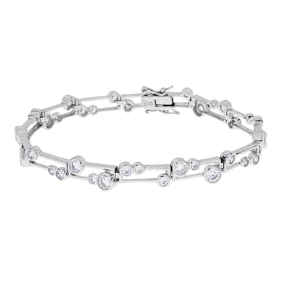 Geometric Link Sterling Silver And Cubic Zirconium Circle Bracelet