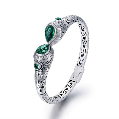 Green Corundum Sterling Silver Indonesian Ornament Style Women's Hollow Cut Cuff Bracelet