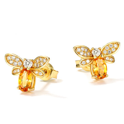Little Honey Bee Beekeeper Gold Plated Sterling Silver Citrine And Cubic Zirconia Pair Of Stud Earrings