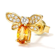 Little Honey Bee Beekeeper Gold Plated Sterling Silver Citrine And Cubic Zirconia Stud Earrings