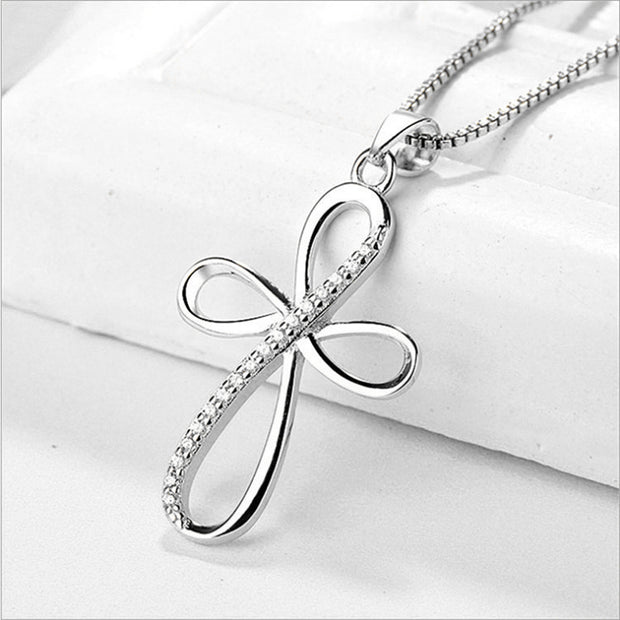 Infinity Cross 925 Sterling Silver Cubic Zirconia Pendant