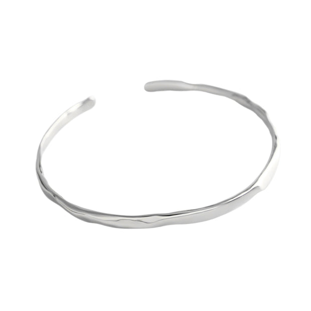 Irregular Shaped Minimalist Stackable Plain Sterling Silver Bracelet